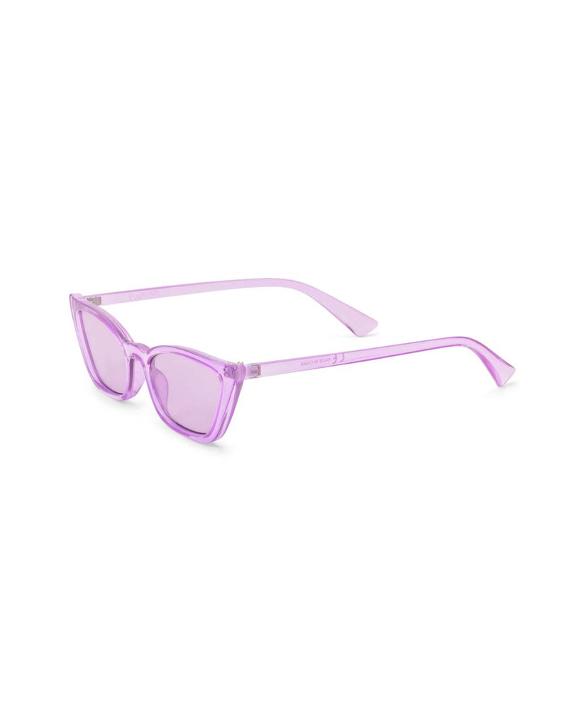 Side view of transparent lilac cat-eye sunglasses with lilac lenses.