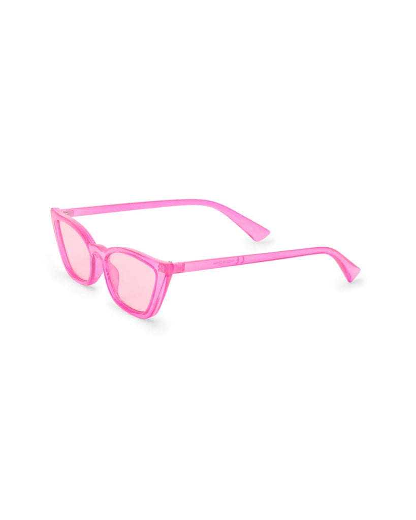 Side view of transparent pink sunglasses with pink lenses
