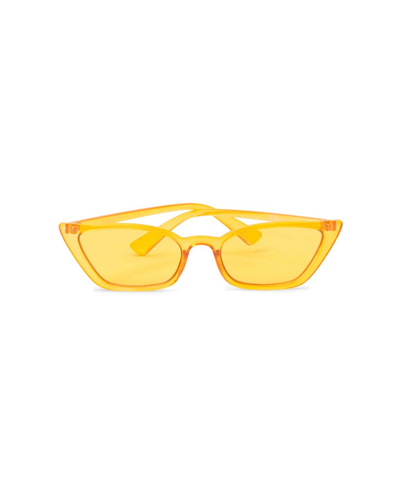 Transparent yellow cat-eye sunglasses with yellow lenses