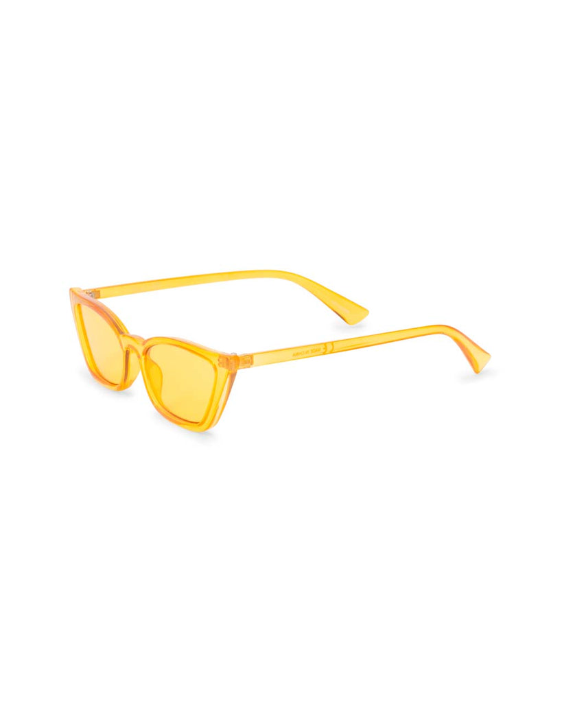Side view of transparent yellow cat-eye sunglasses with yellow lenses