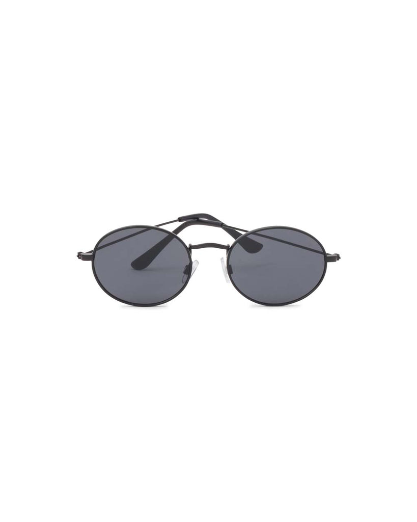 oval sunglasses with black metal frame and dark gray lenses