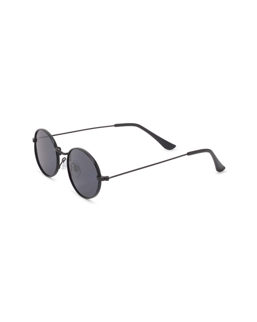 side view of black metal oval sunglasses