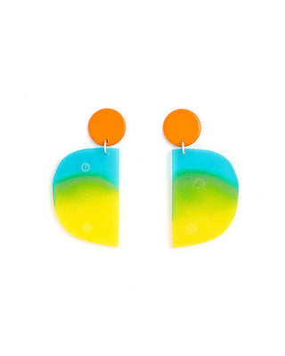 half circle gradient earrings