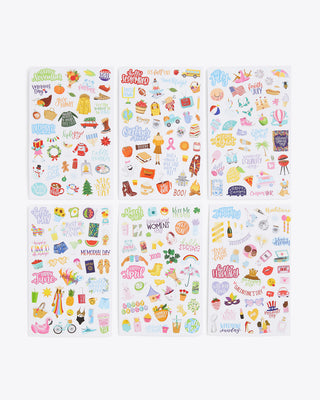 pack of 6 sticker sheets with holiday themed stickers