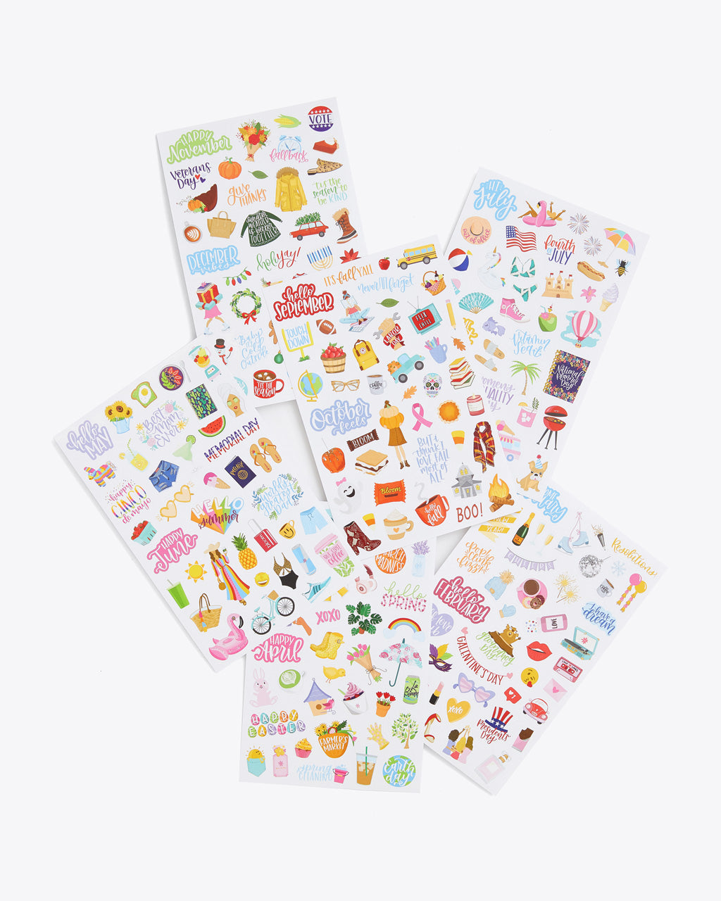 6 sticker sheets of unique holiday designed stickers