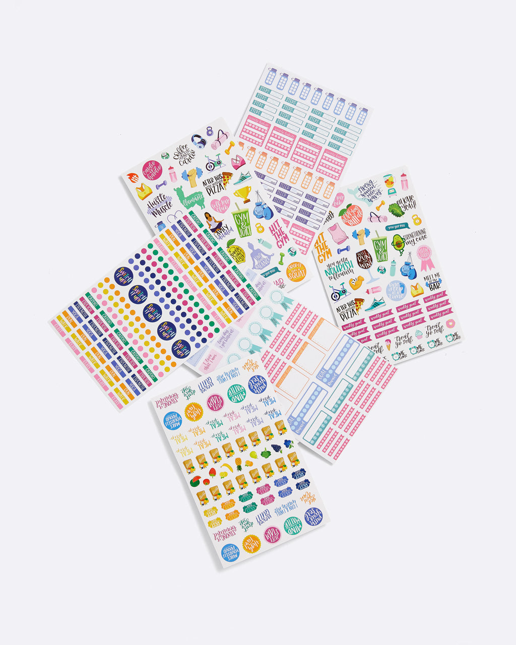 6 sheets of assorted stickers, colors and shapes