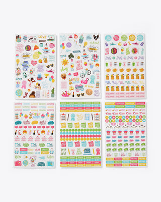 6 sheets of assorted stickers; colors and shapes