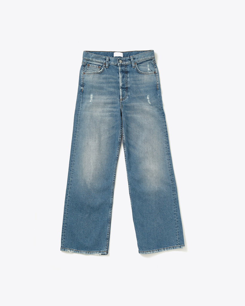 high waisted wide leg jeans with light distressing