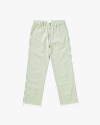 straight leg high waisted pale green jeans with a raw hem