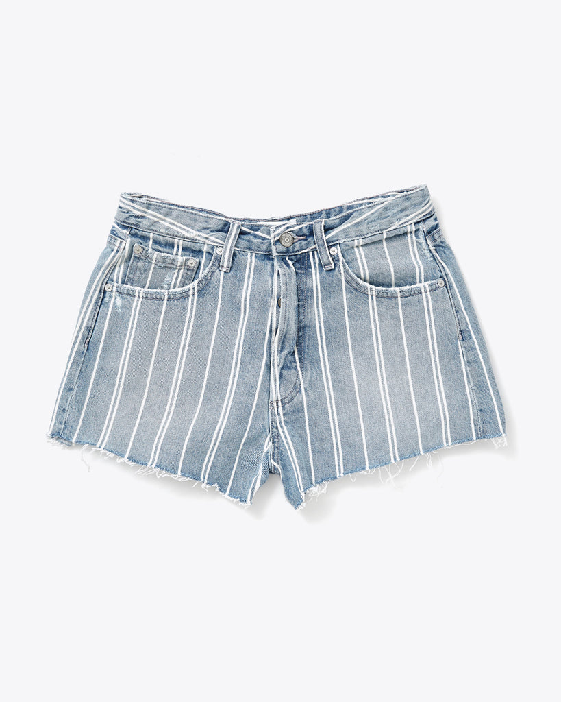 pin striped cutoff denim shorts