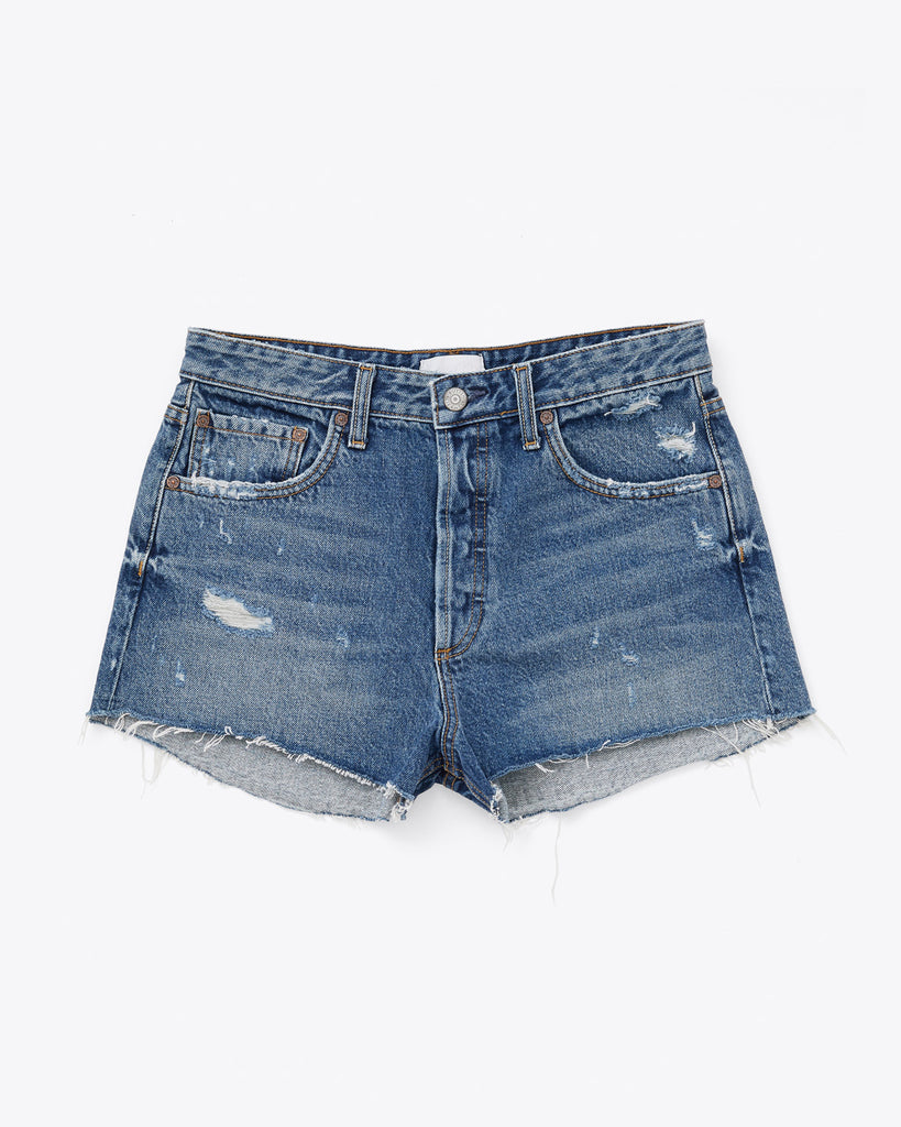 jean shorts with a cut hem and light distressing