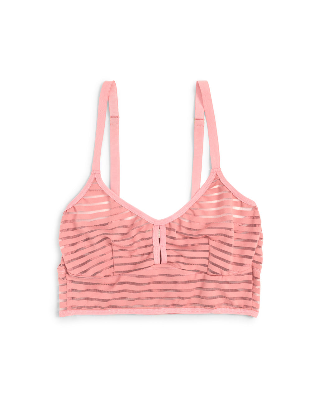 Pink semi-sheer bralette.