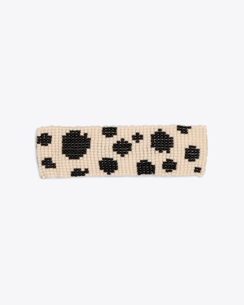white & black beaded barrette