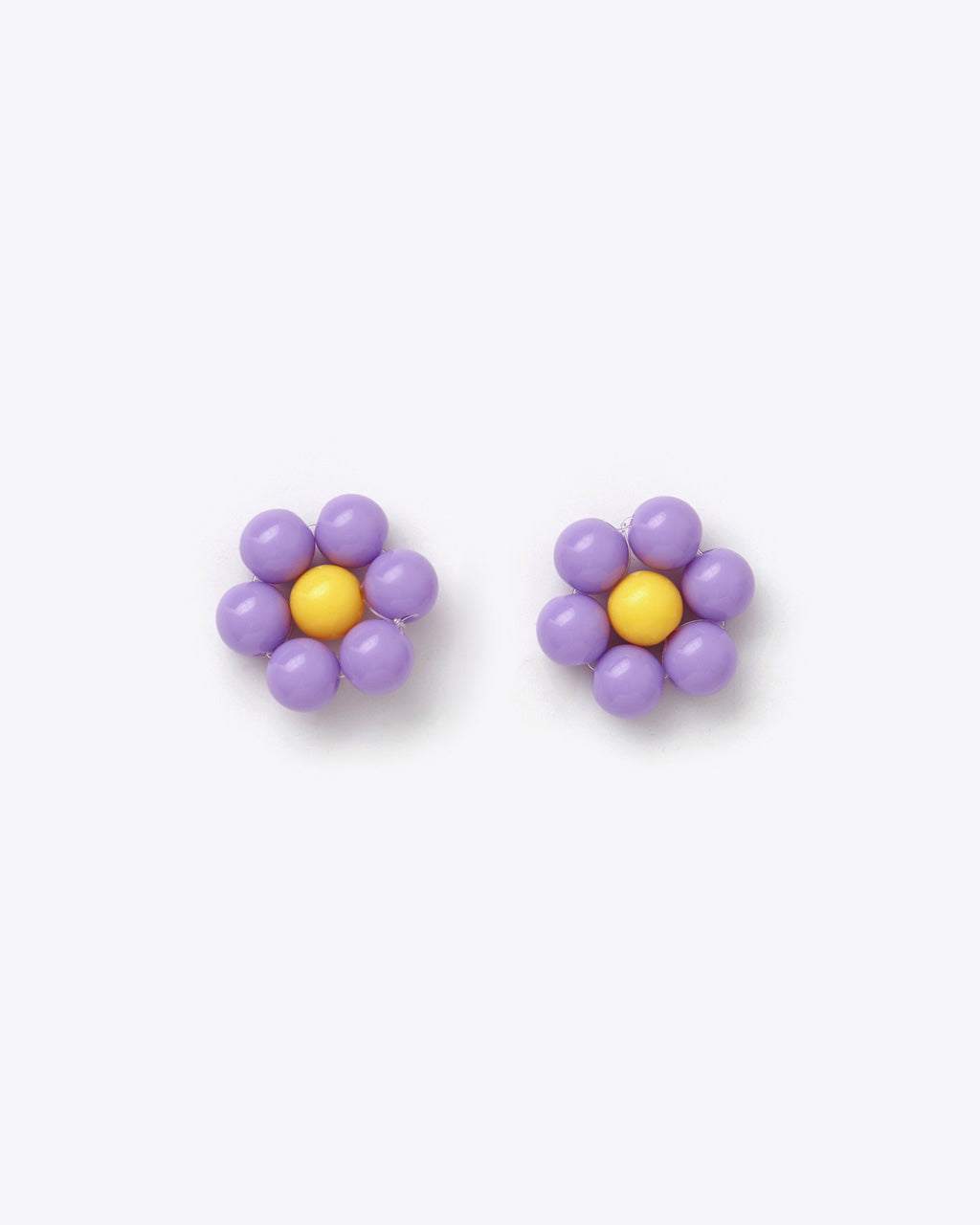 purple beaded flower earrings