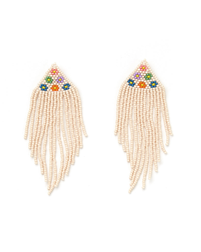 vintage long beaded earrings with a daisy design