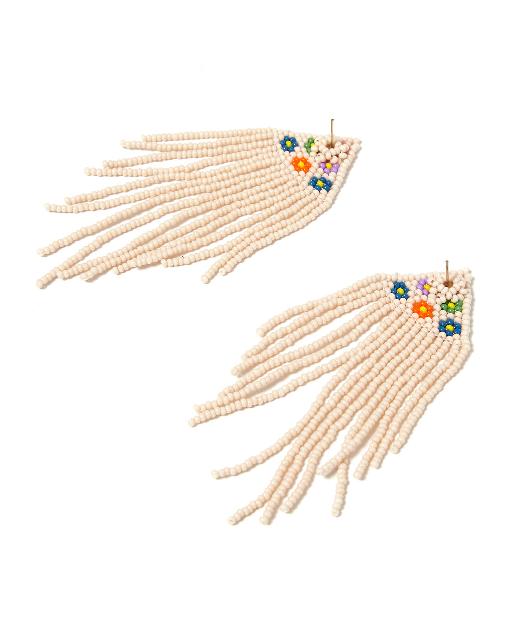 back view vintage long beaded earrings with a daisy design