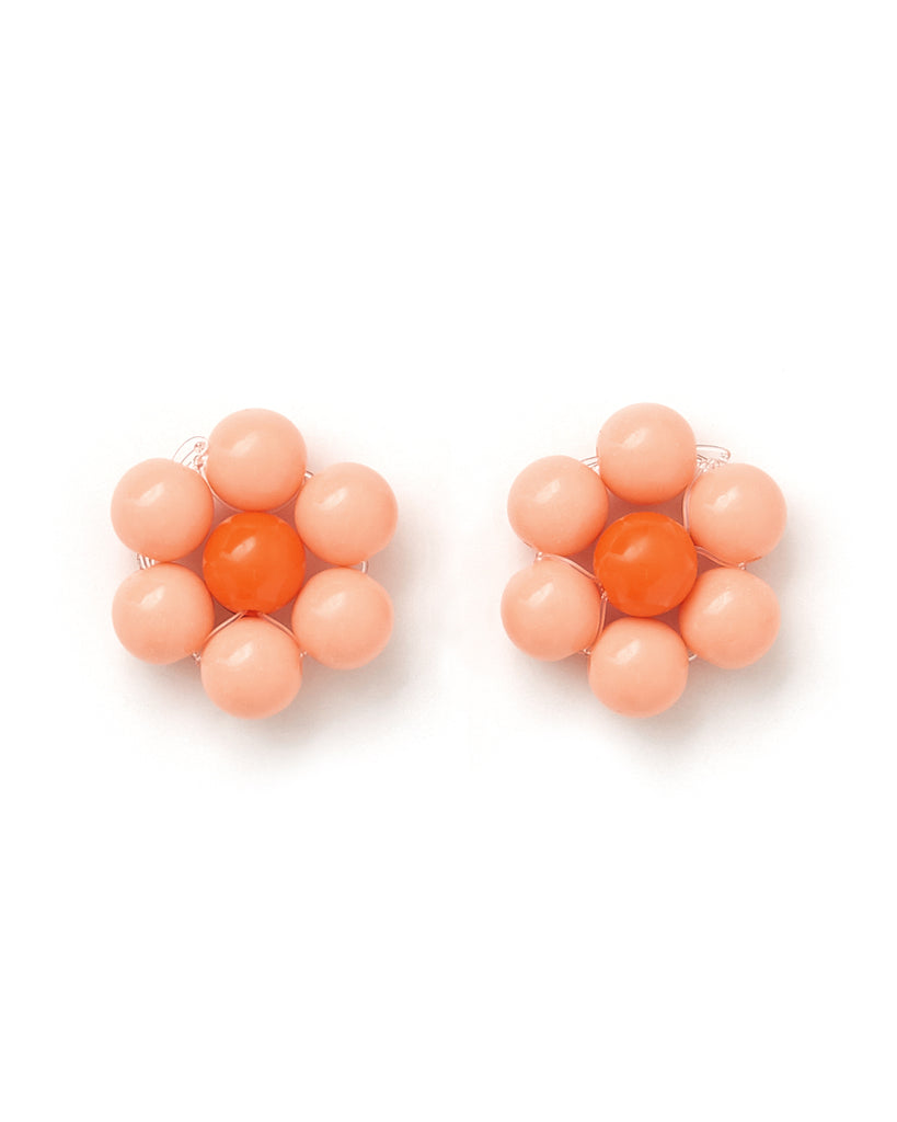 peach beaded earrings with an orange center