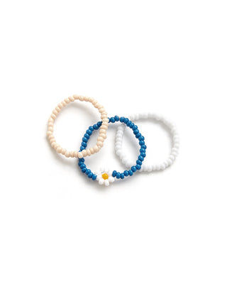 beaded ring set of 3, blue, white, and cream