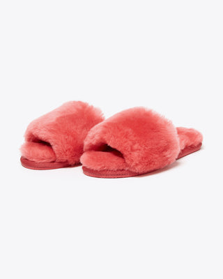faux fur red slippers