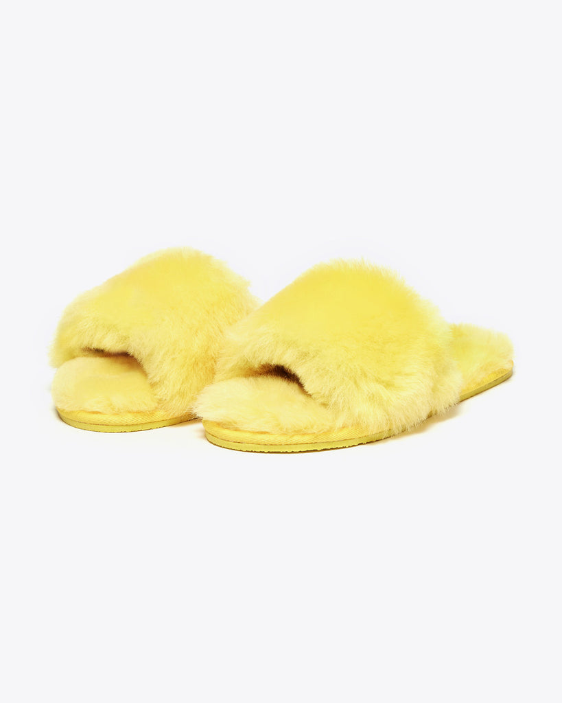 faux fur yellow slippers