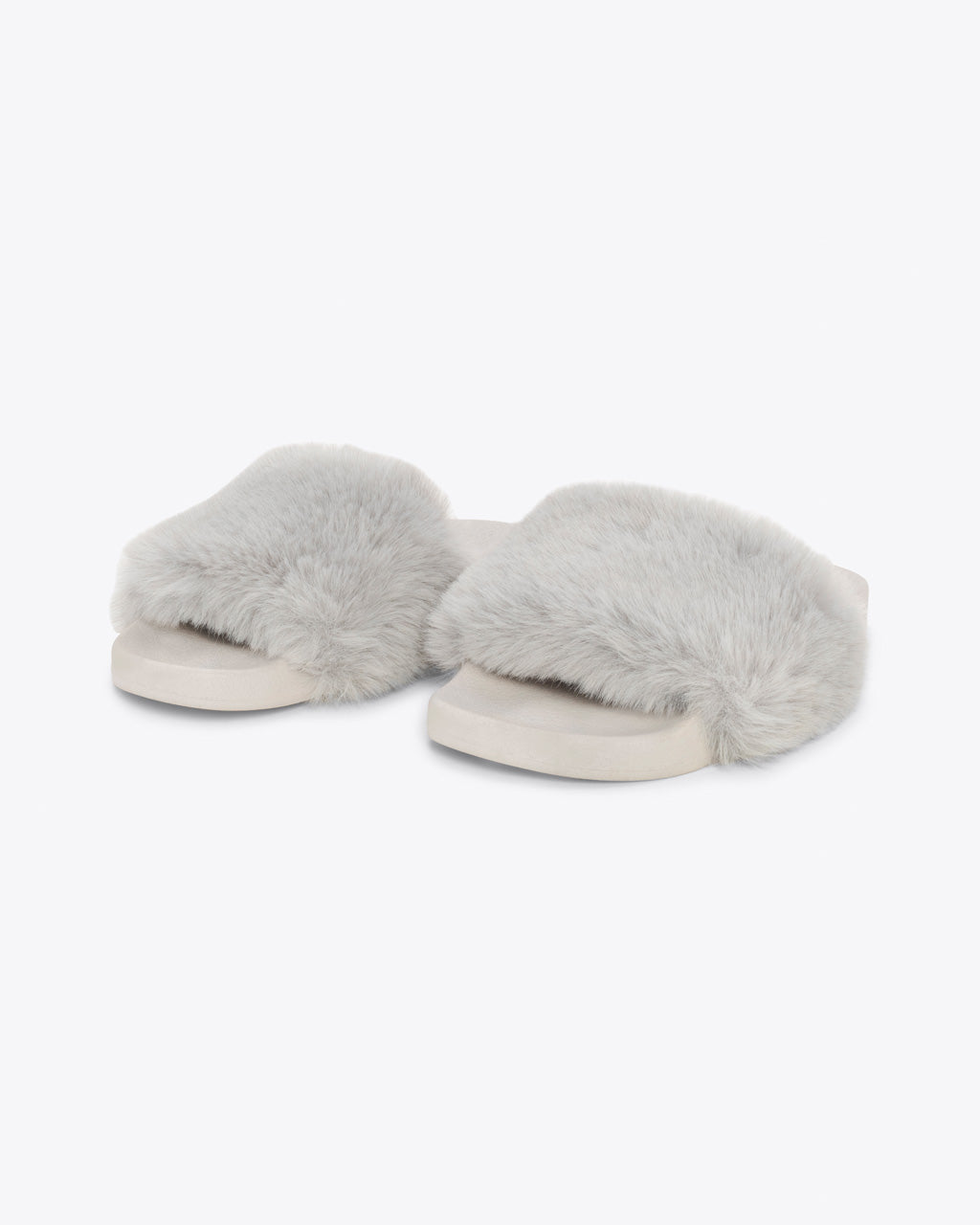 light grey faux fur slippers