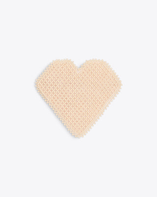 ivory beaded heart shaped barrette