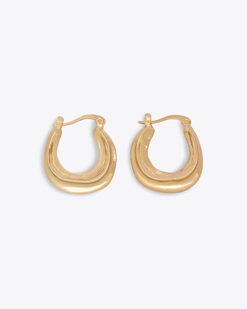 gold irregular shaped clasp hoops