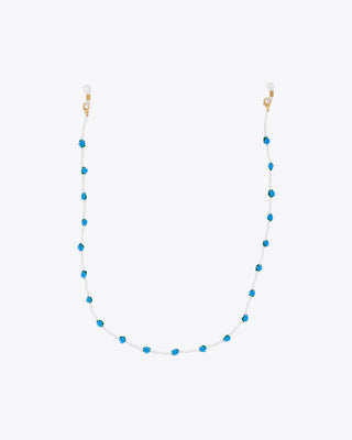 white beaded accessory chain with blue floral designs
