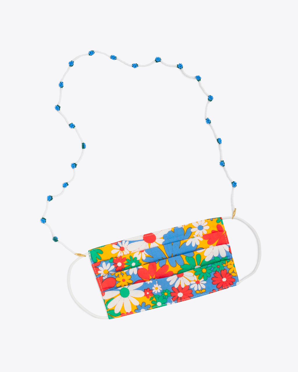 bluebell accessory chain shown on a floral face mask