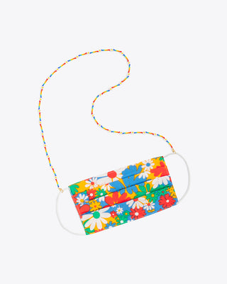 rainbow daisy accessory chain shown on floral face mask