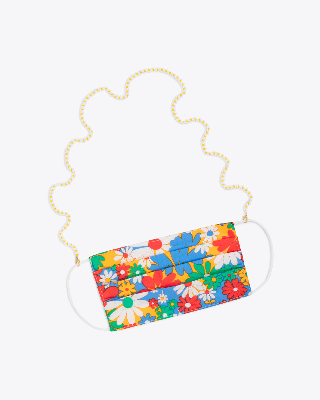 white daisy accessory chain shown on floral face mask