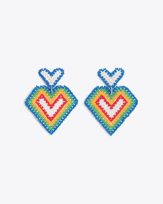 beaded heart earrings with various colors