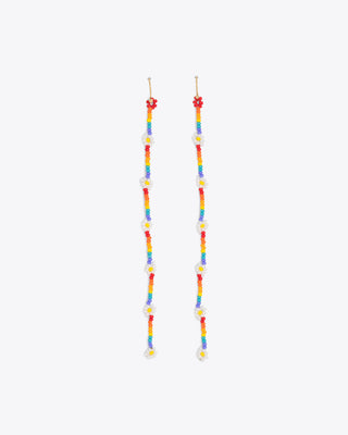rainbow colored beaded long earrings with a daisy accent bead design