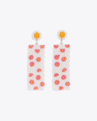 rectangle shaped long earrings with a beaded design all over