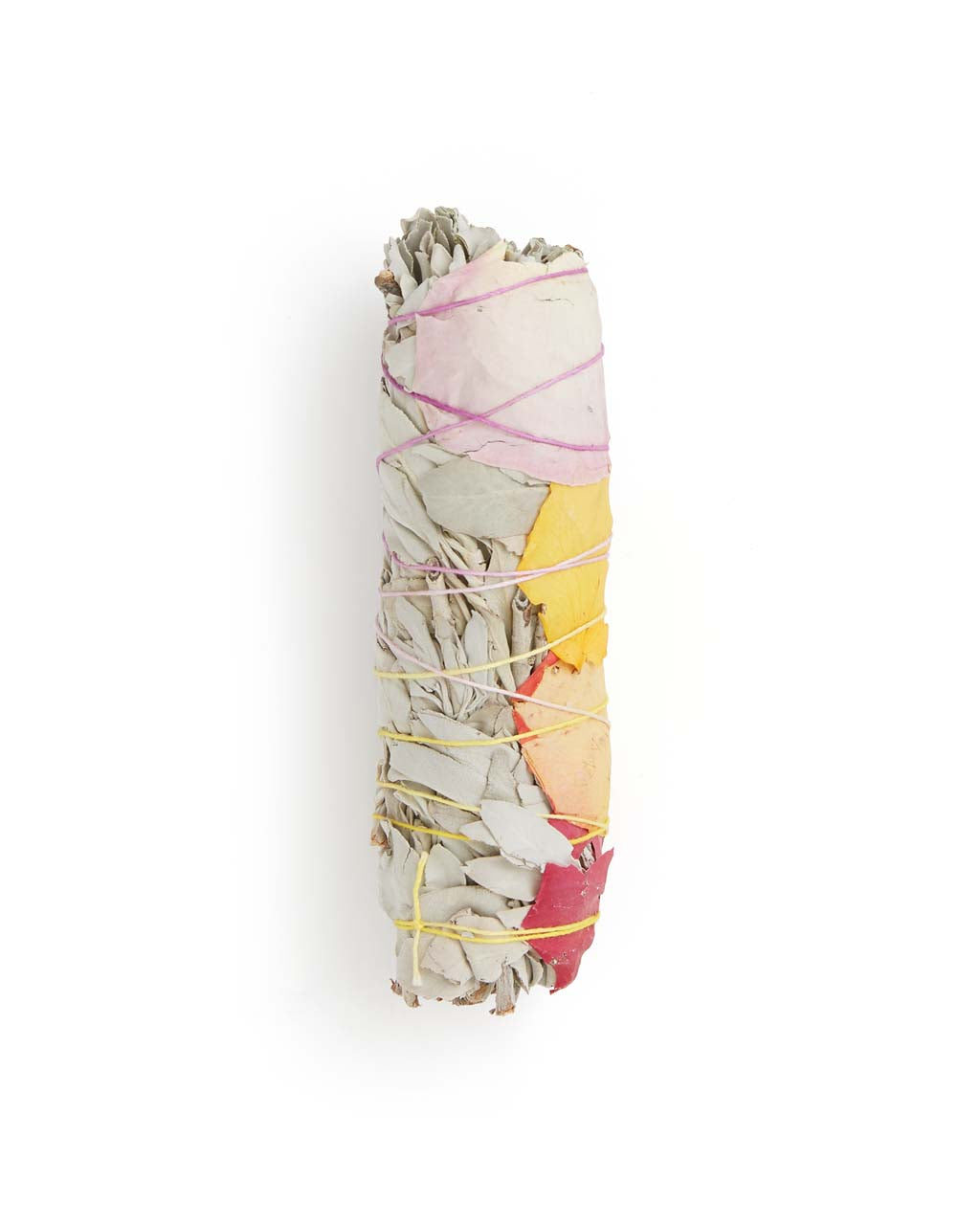 Large White Sage Smudge Stick - Dried Rose Petals