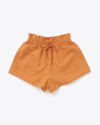 mocha colored twill tie waist shorts