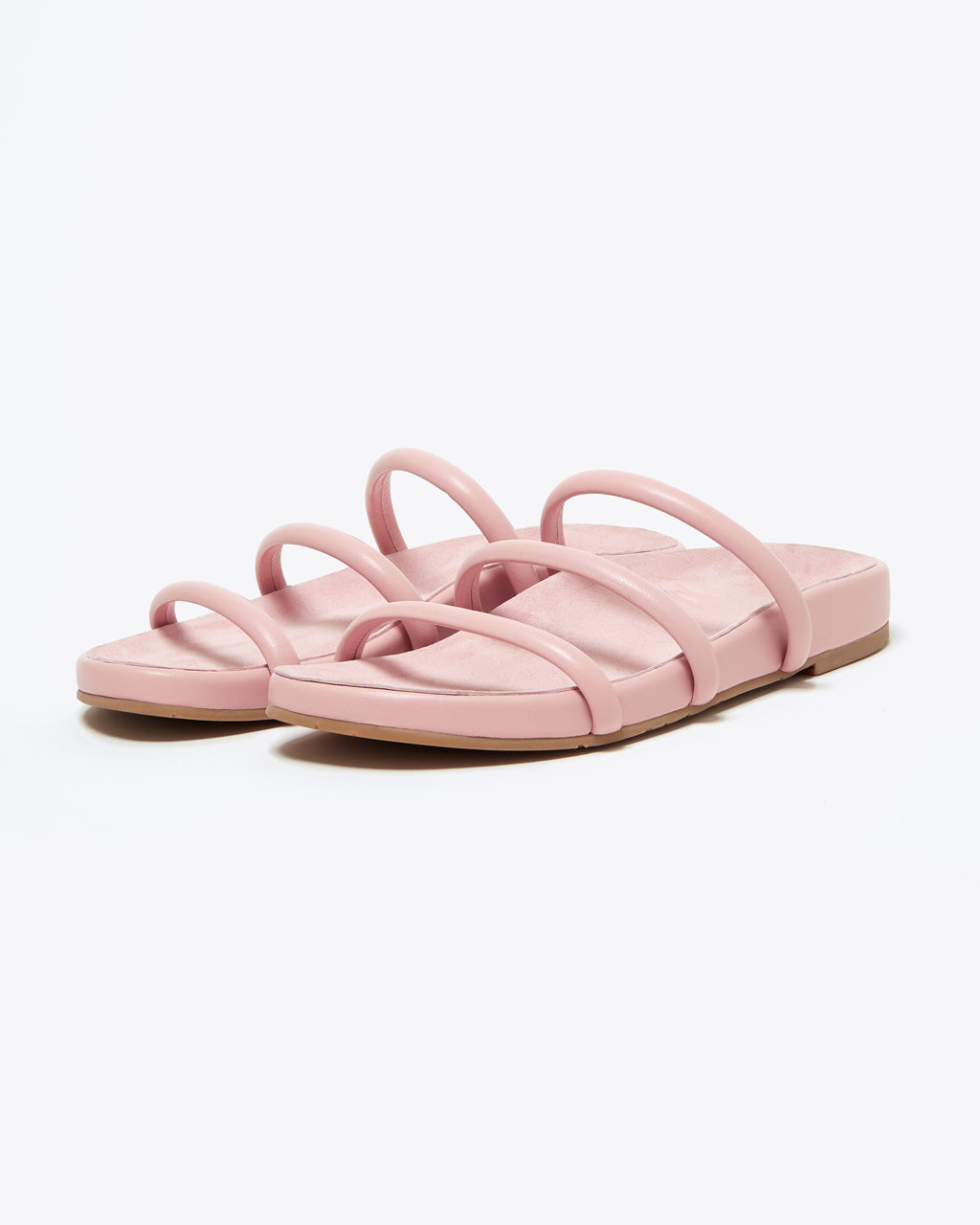 light blush sandals with 3 faux leather top straps