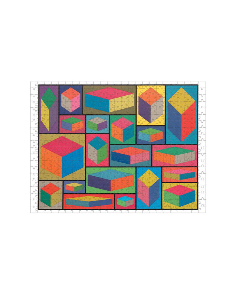 one side of the puzzle showing the 3d geometrical shapes in color