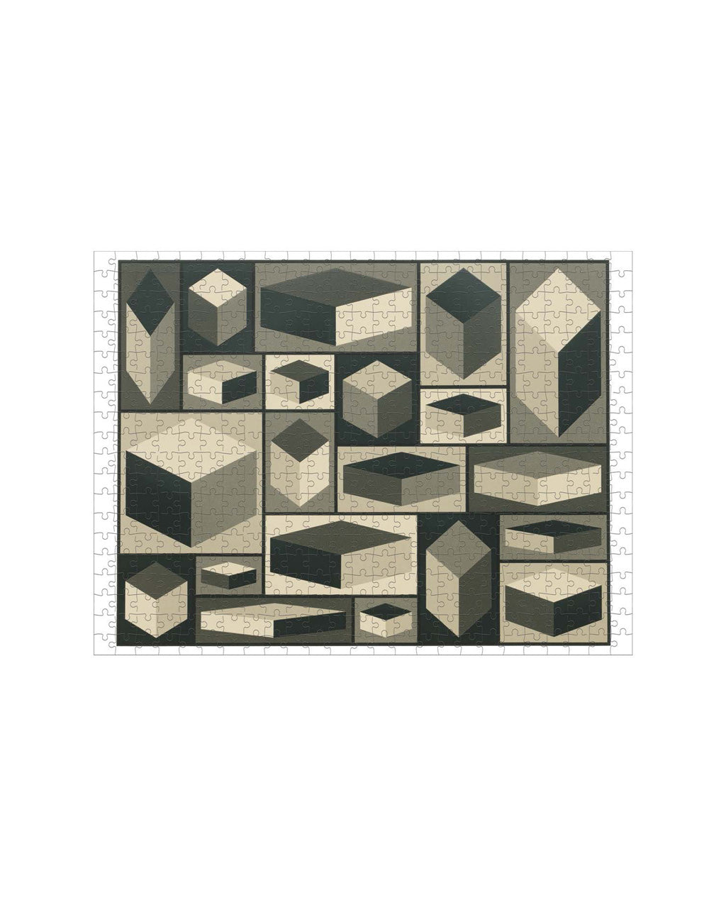 second side of the puzzle showing the 3d geometrical shapes in black and white