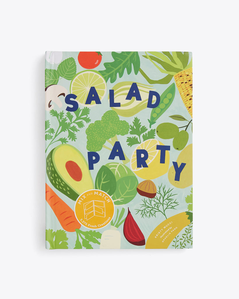 hardcover salad party book with different fruits and vegetables featured on the cover