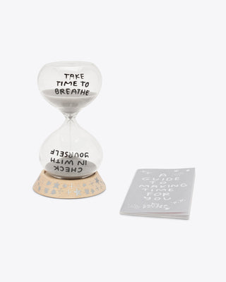 time for yourself sand timer with quotes reminding you to check on yourself along with a guide to make time for yourself