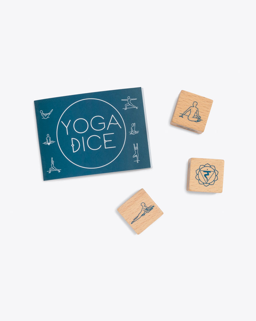 yoga dice  with a yoga pose booklet
