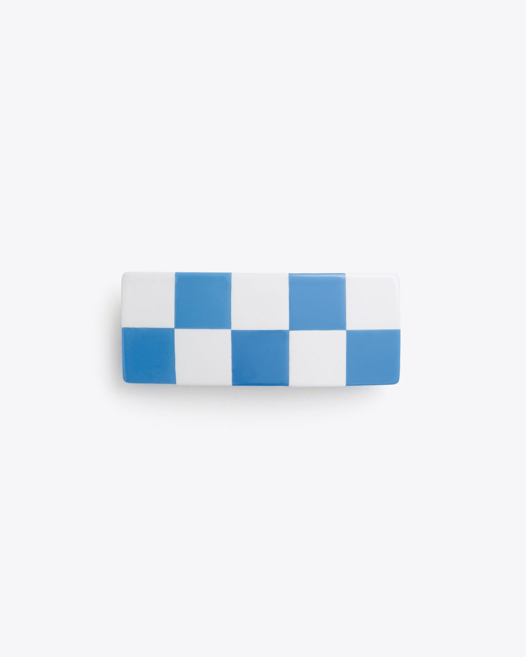 blue and white checkered hair clip