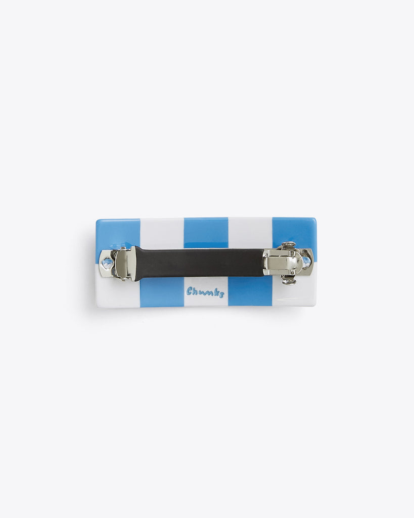 back view of blue and white checkered hair clip