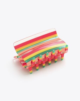 candy stripe long hair claw clip