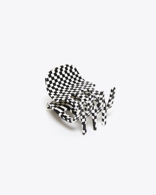 claw hair clip with all-over black and white checker pattern
