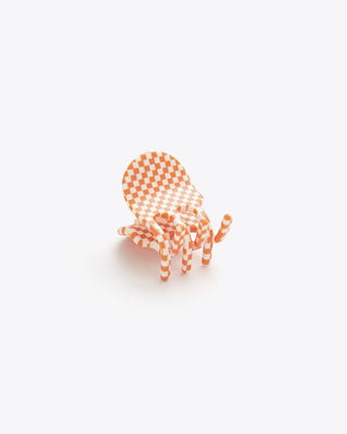orange and white checkered mini hair clip