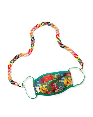 matte rainbow accessory chain shown on face mask
