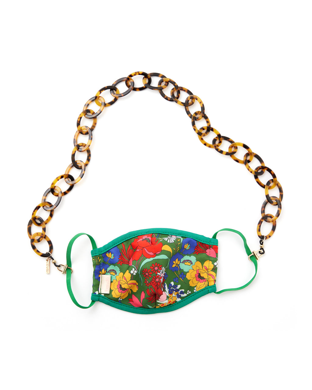 tort colored accessory chain shown on face mask