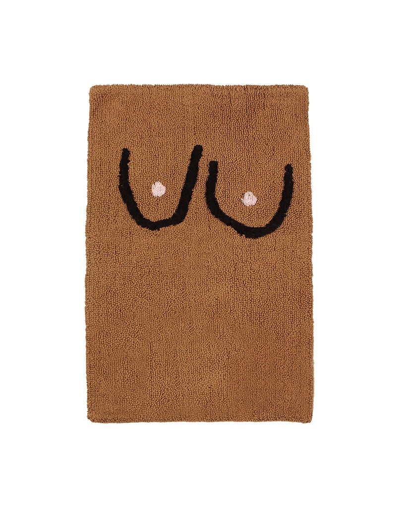 100% cotton bathmat comes in brown with black art.